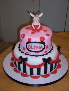 """Olivia's cake - I made this cake for a little angel named Olivia..She had an """"Olivia"""" themed party."""