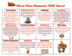 "Printable Etiquette Worksheets | ... What Nice Manners You Have"" chart! Having great manners is such a joy"