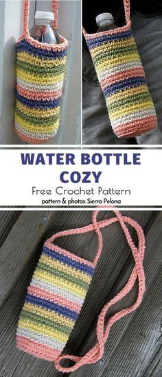 Crochet Cozy, Crochet Gratis, Crochet Motifs, Diy Crochet, Crochet Patterns, Crochet Summer, Crochet Bags, Crochet Towel Holders, Water Bottle Holders