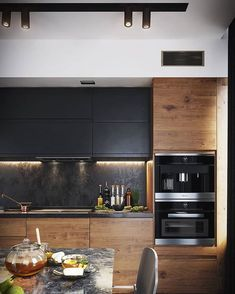 Modern Dark Kitchen - Галерея kitchen decor The 20 Best Ideas for Modern Kitchen Design - Best Home Ideas and Inspiration Kitchen Room Design, Kitchen Cabinet Design, Modern Kitchen Design, Home Decor Kitchen, Interior Design Kitchen, Kitchen Ideas, Diy Kitchen, Kitchen Designs, Rustic Kitchen