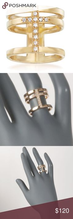 Italian .20 ct. t.w. CZ Cross Ring 18k Gold New in box. This gorgeous open space ring is styled with a .20 karat total weight Cubic Zirconia cross in the center of three 18kt yellow gold over sterling silver rows. Made in Italy. CZ cross ring. CZ weights are diamond equivalents. Retail $195. Brisette #6 Jewelry Rings