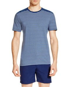 Remi Stripe Tee In White/indigo Ag Jeans, Jeans For Sale, Striped Tee, Mens Tees, Navy And White, Indigo, Short Sleeves, Mens Fashion, Cotton