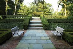 Topiary is a good way of disguising awkward level changes - Doyle-herman-design-associates-portfolio-landscape-garden Boxwood Landscaping, Boxwood Garden, Love Garden, Dream Garden, Formal Gardens, Outdoor Gardens, Landscape Design, Garden Design, Porches