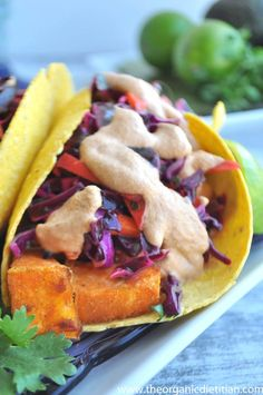 Cumin Sweet Potato Tacos with Cilantro Lime Slaw, Vegan, Gluten Free, Real Food - The Organic Dietitian