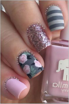 50 Colorful and Floral Nail Designs - Nail Designs - Nail Art Nail Art Designs, Nail Designs Spring, Acrylic Nail Designs, Pretty Nail Art, Cute Nail Art, Nail Art Anniversaire, Winter Nail Art, Winter Nails, Spring Nails