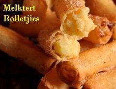 Milk tart Springrolls – Magic happens when two cuisines meet! Appetizer Recipes, Snack Recipes, Cooking Recipes, Easy Recipes, Milktart Recipe, Kos, Bacon Wrapped Potatoes, Spring Roll Filling, Melktert