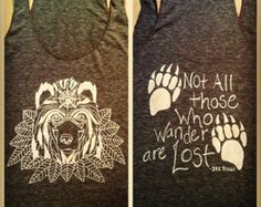 Wandering Golden Cream Colored Tribal Spirit BOHO Bear on Tri-blend Brown Tank Top with inspirational quote & bear paws on the back