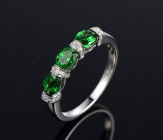 Triple Tsavorite Garnet Ring Linked Stones Rings Three Gemstones Ring Green Garnet Diamond Ring Garnet Jewelry Triple Stone Rings