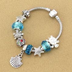 Shell & Sea Turtle Charms Bracelet