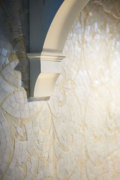 Classic and custom, a marble cloth sparkles on the focal point wall. Designed by Regina Sturrock Design Inc.