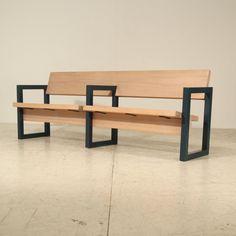 Gerrit Rietveld; Steel and Pine Church Pew, 1960s.