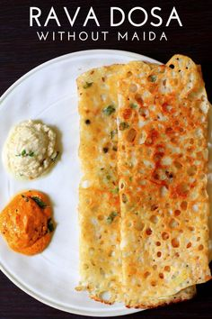 Rava dosa - An easy and quick crispy dosa made with semolina and rice flour. This Rava dosa recipe is instant and can be made under 10 mins. Healthy Breakfast Recipes, Healthy Snacks, Vegetarian Recipes, Cooking Recipes, Healthy Recipes, Cooking Tips, Snack Recipes, Rava Dosa, Indian Breakfast