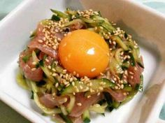 おつまみに!簡単生ハムユッケの画像 Asian Recipes, Gourmet Recipes, Cooking Recipes, Asian Cooking, Easy Cooking, Food Obsession, Daily Meals, Teller, Love Food