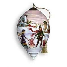 "Ne'Qwa ""Winter Memories"" Hand-Painted Mouth-Blown Glass Christmas Ornament #760  Ne'Qwa Winter Memories Glass Christmas Ornament  Item #760  This beautiful, hand-made ornament is oversized and features a festive winter scene with a family ice skating. Also features the artist's signature and an antiqued gold topper and green tassel  Artist - Betty Padden"