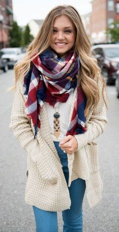 #preppy #fashion /  Printed Scarf // Cream Cardigan // Skinny Jeans // White Top