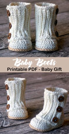 Cute Baby Boots Make an adorable pair of baby boots! baby shoes crochet patterns - baby booties - baby gift - crochet pattern pdf - Make an adorable pair of baby boots! Crochet Boots Pattern, Baby Booties Free Pattern, Crochet Baby Boots, Baby Shoes Pattern, Booties Crochet, Baby Girl Crochet, Crochet Baby Clothes, Crochet For Kids, Knit Baby Shoes