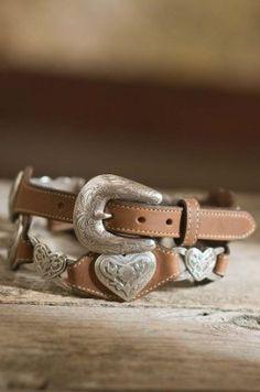 Women's Linked Hearts Tony Lama Leather Belt