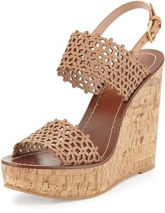 Tory Burch Daisy Perforated Wedge Sandal, Natural Blush トリーバーチ・ウエッジサンダル on ShopStyle