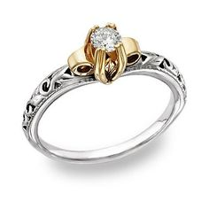 Vintage-art-deco-engagement-rings-white gold band-yellow gold around diamond