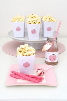 Snack Plate + Popcorn Favor Boxes from an Apple of my Eye Themed Birthday Party via Kara's Party Ideas  KarasPartyIdeas.com (21)