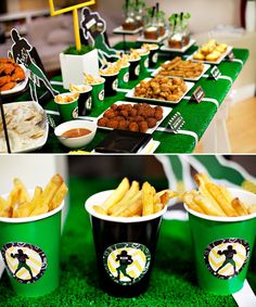 Super bowl party setup with a turf looking design under the plates Football Super Bowl, Football Food, Football Parties, Tailgate Parties, Football Humor, Football Shirts, College Football, Football Names, Football Football