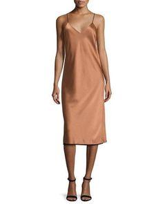 DKNY Sleeveless Reversible Satin Slip Dress, Copper/Black. #dkny #cloth #