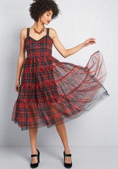 c8c0e466e09e Betsey Johnson Fearless Flair Plaid Midi Dress in Red Red Midi Dress, Plaid  Dress,