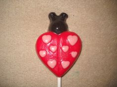 1 chocolate animal heart ladybug baby shower favor lollipops lollipop | sapphirechocolates - Edibles on ArtFire