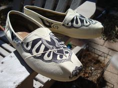 tattoo like design on TOMS shoesmade to order by ArtfulSoles, $120.00