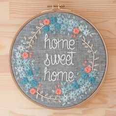 Home Sweet Home 20 cm embroidery hoop by KEDISHOP on Etsy