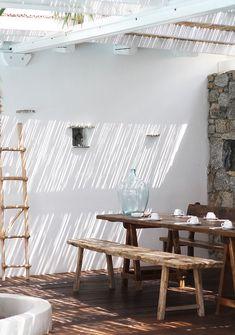 Fashion and style: Mykonos / San Giorgio Hotel / exterior Outdoor Dining, Outdoor Spaces, Dining Table, Wood Table, Dining Room, Rustic Outdoor, Dining Area, Home Design Decor, House Design