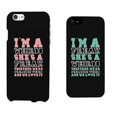 365 Printing Weirdo and Freak Black Matching Best Friends Phone Cases Christmas Gift for BFF