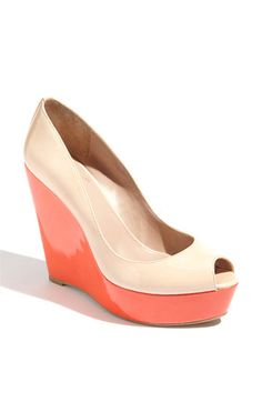 colorful peeptoe wedge...i probably need to lay off patent leather peep toes, but whatever.