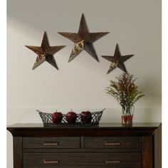 Punched Bronze Metal Star Wall Decor Set Of 3 X3609 Lampsplus Preston S New Room Pinterest Stars And