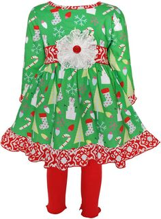 5f5a50dcc The outfit includes a woven dress with wintery festive pattern