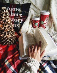 Christmas tree Starbucks book coffee photo