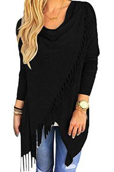 Ezcosplay Chic Long Sleeve Solid Asymmetric Hem Tassel Shirt Tops for Women 00a9471c0