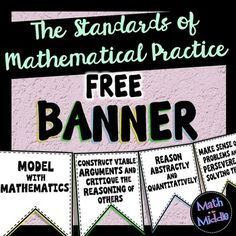 FREE Standards of Mathematical Practice Banner - just print on colored paper, cut out, and hang! Could make for any grade and subject standars Teaching Tools, Teaching Math, Teaching Ideas, Teaching Posters, Teaching Quotes, Kindergarten Activities, 7th Grade Math, Sixth Grade, Fourth Grade