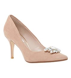 DUNE Belles jewelled pointed-toe court shoes (Blush-suede