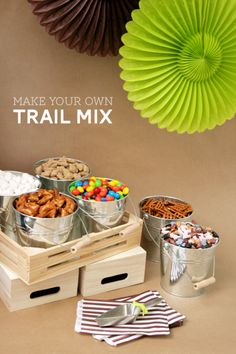 Trail Mix Buffet... Traditional:: Pretzels, Peanut M's, Raisins, Nuts.     Cheese Lovers:: Chez-its, Goldfish, Popcorn      Fruity Nut:: Raisins, Craisins, Dates, Nuts, Pretzels. Chocolate Lover:: Mini Chocolate Chips, Peanut M&Ms, Marshmallows, Golden Grahams.