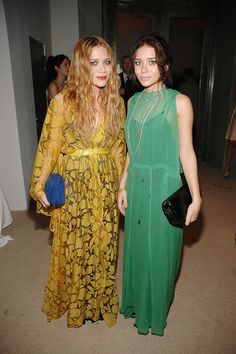 Mary-Kate and Ashley Olsen love their flowing sheer dresses. via StyleList