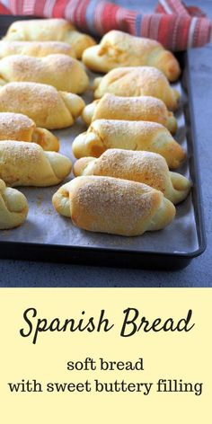 Filipino Spanish Bread (or Senorita Bread) brings back memories of hot afternoon snacks back home with these soft bread coming out of brown paper bags, warm and fresh from the bakery. The sweet, buttery paste filling is my favorite.Spanish Bread are soft Mexican Food Recipes, Dessert Recipes, Pudding Recipes, Mexican Sweet Breads, Mexican Bread, Dinner Recipes, Seafood Recipes, Dessert Bread, Homemade Desserts
