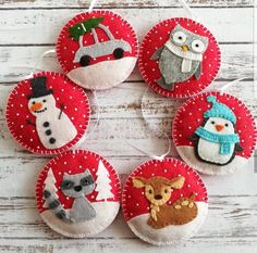 SET of Red Christmas ornaments Red Christmas decoration image 1 Red Christmas Ornaments, Felt Christmas Decorations, Snowman Ornaments, Handmade Christmas, Christmas Crafts, White Christmas, Felt Christmas Stockings, Beaded Ornaments, Christmas Music