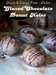 Chocolate Glazed Donut Holes Grain Free Dairy Free Paleo Glazed Chocolate Donut Holes--try using millet or sunflower.