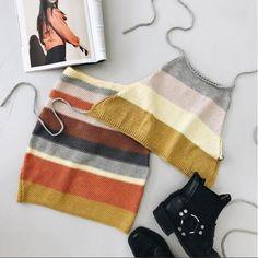 Stripe Knit Matching Set #matching #set #halter #crop #top #fashion #stripe #striped #stripes #mini #skirt #knitted #knit #ootd #flatlay