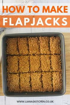 Flapjacks are a classic snack that appeal to all ages. And with only 4 ingredients in a traditional flapjack recipe, they're not that hard to make either! They make the perfect lunchbox treat, as well as a great afternoon energy booster. How To Make Flapjacks, Easy Flapjacks, Easy Baking Recipes, Cake Recipes, Dessert Recipes, Cooking Recipes, Pudding Recipes, Baking Ideas, Desert Recipes