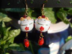 Maneki-neko (lucky japanese beckoning cat) earrings ceamic bead with red flower OOAK red glass heart