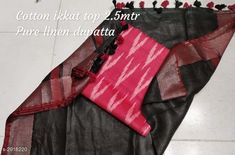 Checkout this latest Suits Product Name: *Classy Suits & Dress Materials  * Top Fabric: Cotton + Top Length: 2.5 Meters Dupatta Fabric: Linen + Dupatta Length: 2.4 Meters Lining Fabric: No Lining Type: Un Stitched Pattern: Printed Multipack: Single Easy Returns Available In Case Of Any Issue   Catalog Rating: ★4.1 (1955)  Catalog Name: Ikat Printed Cotton Suits & Dress Materials (Single Pack) CatalogID_397334 C74-SC1002 Code: 347-2918220-9102
