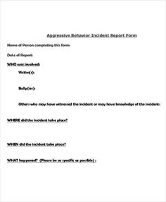 Incident Report Form  Incident Report Template
