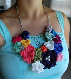 multicolored flower necklace — attempted to make a similar one, but it's not this pretty